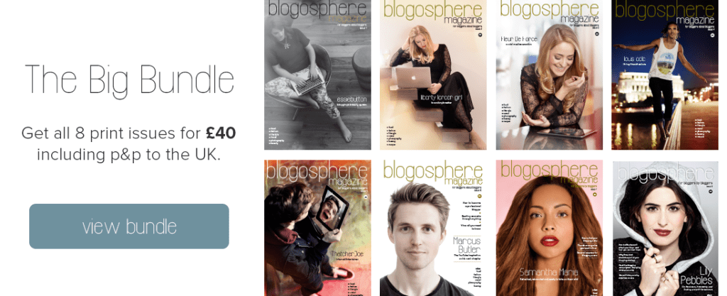 The big bundle - Get 8 blogosphere print issues for £40 including p&p to the UK.